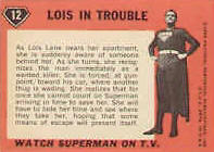 Superman trading cards. Card back 3.