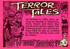 Non-sports cards. Terror Tales card back.
