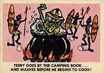 Weird-Oh's trading cards. Guy in a cooking pot.